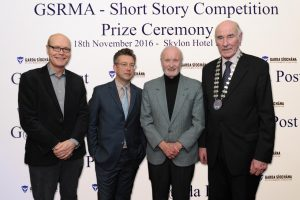 Pictured at the announcement of winners of the GSRMA Short Story Competition were frm left to right: John McCourt, Colin Teevan, Bill Kelly and Barry O'Brien. Photograph: Aidan Crawley