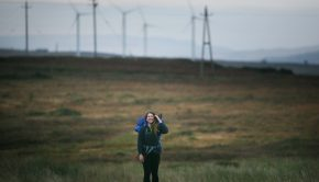 Canadian Maysen Forbes pictured walking across Kilronan Mountain, between Ballyfarnon and Ariana, Co Roscommon as she makes her way from Castletownbere, Co Cork to Ballycastle, Co Antrim. Photo Credit: Brian Farrell