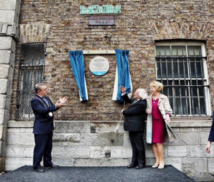President Higgins Unveils Plaque In Memory Of Iconic Irish Suffragette